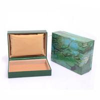 cajas de madera para hombres al por mayor-Relojes Cajas de madera Cajas de regalo Cajas de relojes de madera verdes Relojes de hombres Cajas de relojes de cuero Cajas