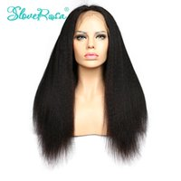 Slove Rosa Products Kinky Straight Full Lace Hair Hair Perruques Brazilian Remy Hair Italian Yaki African American Hair Wigs