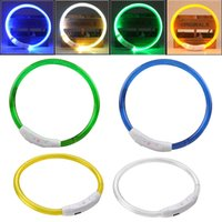 Wholesale Collar Bands - Wholesale- Rechargeable USB Waterproof LED Luminous Light Band Outdoor Dog Collars Night Flashing Novelty Light 3 Modes