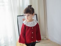 Wholesale Knit Cardigan Sweater For Kids - Christmas Baby Girls sweater wine red knitting cardigan coat for children single breasted flare sleeve outwear kids halloween costumes T0481
