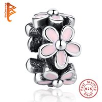 Wholesale enamel charms round - BELAWANG European Darling Daisy Flower 925 Spacer Beads Pink Enamel Charms Fit Pandora Bracelet Bangle 925 Sterling Silver Jewelry Making