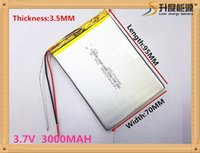 Wholesale Tablet Pc Lithium Ion Battery - Three wire battery 3.7V 3000mah (polymer lithium ion battery) Li-ion battery for tablet pc 7 inch Tablet battery 357095 Free Shipping