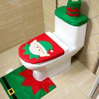 Wholesale Christmas Three Ornaments - Christmas decorations ornaments Santa Claus toilet Christmas toilet three-piece hotel Christmas gift Toilet cover set mat
