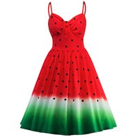 vestidos de melancia venda por atacado-Vestidos de festa das mulheres 50 s 60 s Rockabilly Robe Melancia Vestido de Impressão Das Mulheres Do Vintage feminino Vestidos vestidos de alça de Balanço
