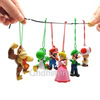 Décoration d'arbre de Noël 6 pièces Super Mario Bros Luigi PEACH DK Figurines d'action Animal Doll Christmas Gifts For Kids