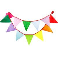 tela de la boda al aire libre al por mayor-Al por mayor- 12Flags 3.1M Banners de tela Personalidad Wedding Bunting al aire libre Rainbow Bunting Party Flags / enormes fiestas de cumpleaños / puestos de mercado