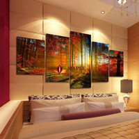 Wholesale Modern Landscapes - 5 Panel Forest Painting Canvas Wall Art Picture Home Decoration Living Room Canvas Print Modern Painting--Large Canvas Art Cheap
