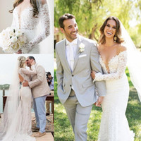 Wholesale new romantic style dresses for sale - Group buy 2019 Romantic New Summer Boho Lace Cheap Mermaid Wedding Dresses off shoulder Long Sleeves Backless Country Style Long Bridal Gowns