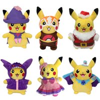 Wholesale Stuffed Animals For Ems - Christmas Poke Plush toys pikachu Stuffed Animals for Children Gift 10-11 inches EMS C2504
