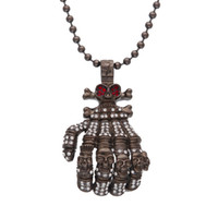 Wholesale bead gun resale online - Gun black Cool Big Size Skeleton Hands Pendant Necklace Crystal White Red Rhinestones Vintage Long Rosary Bead Necklaces Men Skull Jewelry