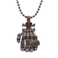Perles De Chapelet En Cristal Rouge Pas Cher-Gun black Cool Big Size Skeleton Hands Pendentif Collier Crystal WhiteRed Rhinestones Vintage Long Rosary Bead Colliers Men Skull Jewelry