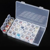 cajas de almacenamiento de cuentas al por mayor-Plástico Transparente 28 Ranuras Caja de Almacenamiento Vacío Nail Art Rhinestone Herramientas Granos de La Joyería Caja de Almacenamiento de Exhibición Caja Organizador Titular