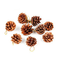 Wholesale 9pcs Christmas Tree Hanging Balls Pine Cones Pinecone Xmas New Year Holiday Party Decoration Ornament For Home Parties Supplies
