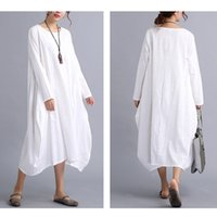 Wholesale White Loose Dresses - 2017 New Womens Casual Long Sleeve Loose Cotton Linen Maxi Long Dress Kaftan 2 Colors 4 Size