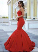 Wholesale Elegant Sweetheart Mermaid Gown - Red Sexy Mermaid Satin Lace Up 2017 Arabic Prom Dresses Sweetheart Cheap Elegant Evening Dresses Long Formal Party Gowns