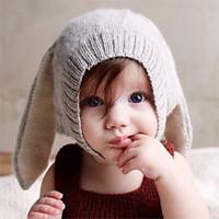 yürümeye başlayan çocuk erkek fotoğraf sahne toptan satış-10 ADET Sonbahar Kış Toddler Bebek Erkek Kız Tavşan Uzun Kulak Şapka Çocuk Tığ Örgü Yün Kap Çocuklar Şapka Aksesuarları Fotoğraf Sahne
