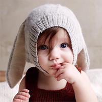 Wholesale Photo Rabbits - 10PCS Autumn Winter Toddler Baby Boys Girls Rabbit Long Ear Hat Children Crochet Knitting Wool Cap Kids Headgear Accessories Photo Props