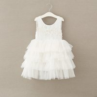 Everweekend Girls Tulle Pearl Ruffles Princess Dress Western Fashion Lovely Chlidren Robe Tutu Sweet Baby Party Vêtements