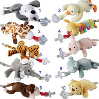 Wholesale Elephant Silicone - 10 Style New silicone animal pacifier with plush toy baby giraffe elephant nipple kids newborn toddler kids Products include pacifiers