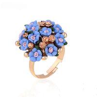 große blaue blumentöpfe großhandel-Mode Große Harz Keramik Blume Ringe Für Frauen Vergoldet Blau Lila Fingerring Braut Delicate Einstellbare Schmuck Offene Ringe