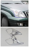 faros de toyota al por mayor-2pcs Chrome Front Head luz cubierta de la lámpara ajuste para Toyota LC Prado FJ120 2003-2009