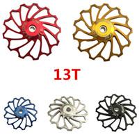шкивы из сплава оптовых-Новые продукты велоспорт велосипед керамика жокей колесо задний переключатель шкив 11T 13T 7075 алюминиевого сплава велосипед направляющий шкив подшипник