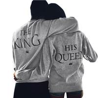 rey sudaderas al por mayor-Al por mayor-Men Grey KING 10 Carta de impresión Hoodies LOVERS CLOTHES New Loose Jumpers Otoño Sudaderas Moda Parejas Pullovers Aug20