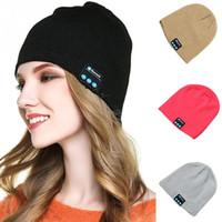 Wholesale Knitted Apple Hats - New Wireless Bluetooth Soft Warm Earphone Music Knitted Hat Headphones Smart Cap Headset Speaker Mic Headgear Hat Hot Selling For iPhone