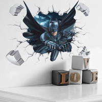 Wholesale Decorative Wall Decals Removable - 3D Effect Super Hero Batman Breaking Wall Stickers Baby Kids Bedroom Decorative Wall Stickers Decal Gift free shipping