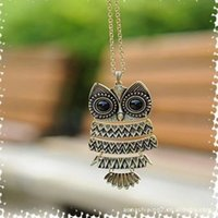 Wholesale Ladies Christmas Clothes - Europe and the United States jewelry pendants temperament ladies cute retro clothing accessories vivid owl long necklace sweater chain