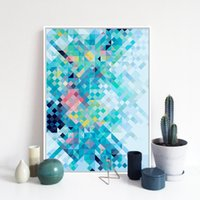 Wholesale Rainbow Spray Paint - Modern Rainbow Pixel Pop Hippie A4 Large Art Print Poster Abstract Wall Picture Canvas Painting No Framed Living Room Home Decor