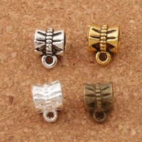 Wholesale Antique Bronze Charms Butterfly - Butterfly Connectors Bails Beads 400pcs lot 9.6x7.1mm 4Colors Antique Silver Bronze Gold Fit Charm European Bracelet L692