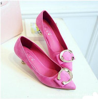 Wholesale Korean Party Dresses Women - Fashion Korean Style Pinky Color Pointed Toes Spool Heels 5CM Pink Middle-Heeled Shoes Cute Lady's Slow Dinner Dress Shoes