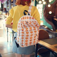Canvas spot smile - Spot canvas backpack smiling face pattern backpack middle school student smiling face bag