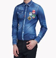 Wholesale Cotton Denim Shirts Men - Embroidered Maple Leaf Men Shirt Cotton Pockets Quality Denim Shirt Whiskered Classic Long Sleeves Camicia Brand Clothing