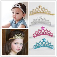 Wholesale Wholesale Girls Rhinestone Headbands - Baby Girls Headbands Sparkle Crowns Kids Grace crown Hair Accessories Tiaras Headbands With Star Rhinestone Hair Accessories 4 Colors KHA91