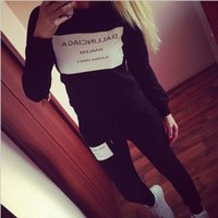 Wholesale Wholesale Women Knit Suits - Wholesale Women Sports Set Black White Gray Leisure Outdoor Clothing Sets Letter Print Strapped Sweatershirt + Long Pants Suit Free Shipping