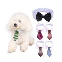 collar del gato corbata de lazo al por mayor-Linda raya pajarita perrito gatito blanco cuello corbata 2 tamaño perro gato mascota moda corbata