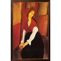 kırmızı soyut sanat resimleri toptan satış-Soyut Portre resimlerinde Amedeo Modigliani Jeanne Hebuterne Kırmızı Şal kız sanat yatak odası dekor için yüksek kalite