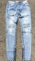 Wholesale Best Softener - Wholesale-Best version fear of god FOG men Selvedge zipper destroyed skinny slim fit justin bieber Vintage ripped blue denim jeans