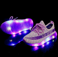 Wholesale Winter Shoes For Kids Boys - Boys Girls LED Light Up lace-up Sport Flats Kids Luminous Casual Shoes LED Light For Children Kids Casual Sneakers