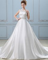 Wholesale Satin One Shoulder Wedding Dress - Elegant Satin Ball Gown Wedding Dresses Lace Appliques One Shoulder Bridal Gown With Beaded Belt Wedding Gown