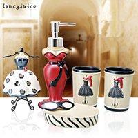 Wholesale Dispenser Bottle Holder - Resin wedding bathroom set Fashion 5 pcs accessories quality gifts 1 Liquid bottle 2 cups 1 Toothbrush holder 1 Soap dispenser