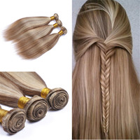 Wholesale Ash Brown Extensions - Mix Piano Color #8 #613 Silky Straight Hair Bundles Brazilian Virgin Human Hair Weft Light Ash Brown And Blonde Hair Extensions