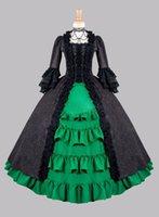 vestidos de baile belle do sul da victorian venda por atacado-Renascimento medieval Marca New Black / Green Manga Longa Ruffles Guerra Civil / southern Belle Vestidos De Baile Vestido Vitoriano Para as mulheres