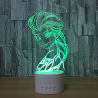 Wholesale snow ball wedding - 3D LED Lamp Speaker Snow Queen 5 RGB Lights USB Charging Bluetooth Speaker TF Card Wholesale Dropshipping