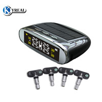 Wholesale solar power monitors - TPMS Tool Solar Energy USB Charger Power Tire Pressure Indicator LCD Screen Univesal Alarm Monitor 4 Intern Car Eletrnoics