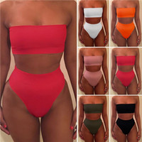 Wholesale Tube Top Bikini Black - 2 Pieces Bikini Set Strapless Tube Bikini Top + High Waist Triangle Bottom Sexy Ladies Swimwear Swimsuit Bathing Suit