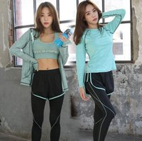Hot 2017 Fitness 4 pièces Workout Clothing Women's Gym Sports Running Slim Tops Women Training Yoga Sets Costume de sport pour femme