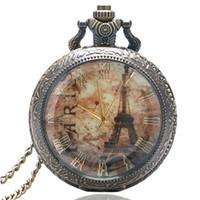 Wholesale Eiffel Tower Pocket Watches - Wholesale-Antique Eiffel Tower Rome Number Quartz Pocket Watch Necklace Pendant P191